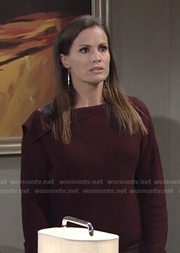 Chelsea's burgundy ribbed asymmetric sweater on The Young and the Restless
