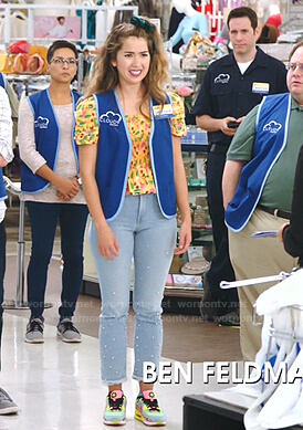 Cheyenne's yellow floral smocked top on Superstore