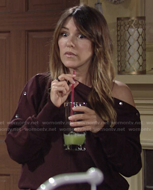 Chloe's burgundy sweater with snap buttons on The Young and the Restless