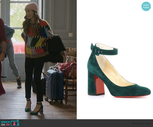 Soval Ankle Strap Pump by Christian Louboutin worn by Emily Cooper (Lily Collins) on Emily in Paris