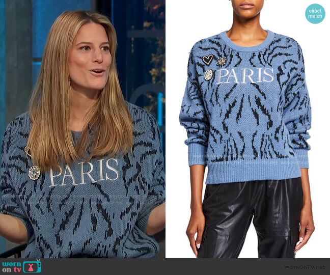 Paris Applique Wool Sweater by Cinq a Sept worn by Brooke Jaffe on E!