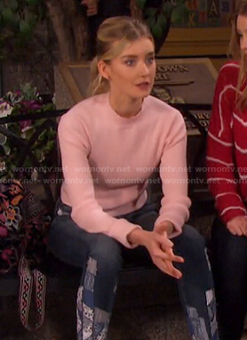 Claire's pink top and patchwork jeans on Days of our Lives