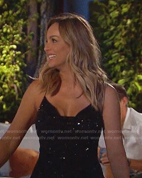 Claire's black sequin cowl neck mini dress on The Bachelorette