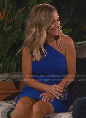 Clare's blue one-shoulder mini dress on The Bachelorette