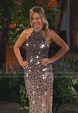 Clare's sequin halter gown on The Bachelorette