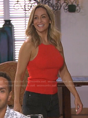 Clare's red tank top and denim shorts on The Bachelorette