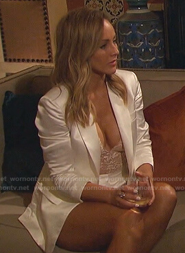 Clare's white satin blazer and lace bodysuit on The Bachelorette