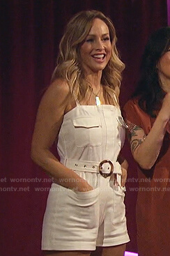 Clare's white belted romper on The Bachelorette