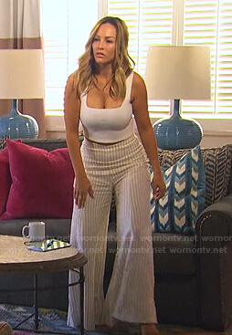 Clare's white cropped tank and striped wide leg pants on The Bachelorette