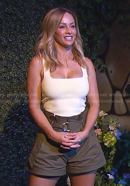 Clare's yellow square neck tank and khaki belted short on The Bachelorette