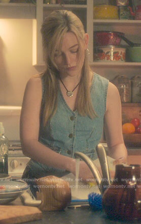 Dani's denim waistcoat on The Haunting of Bly Manor
