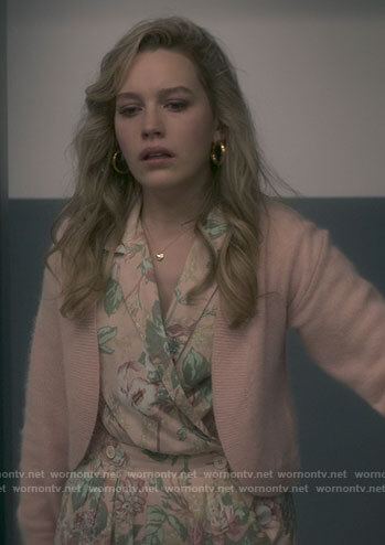 Dani's pink floral jumpsuit and sweater on The Haunting of Bly Manor