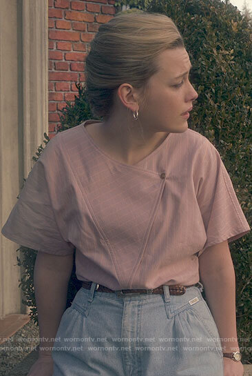 Dani's pink striped asymmetrical top and pleated jeans on The Haunting of Bly Manor