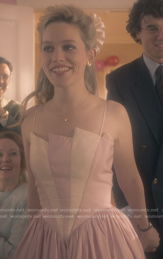 Dani's pink and white party dress on The Haunting of Bly Manor