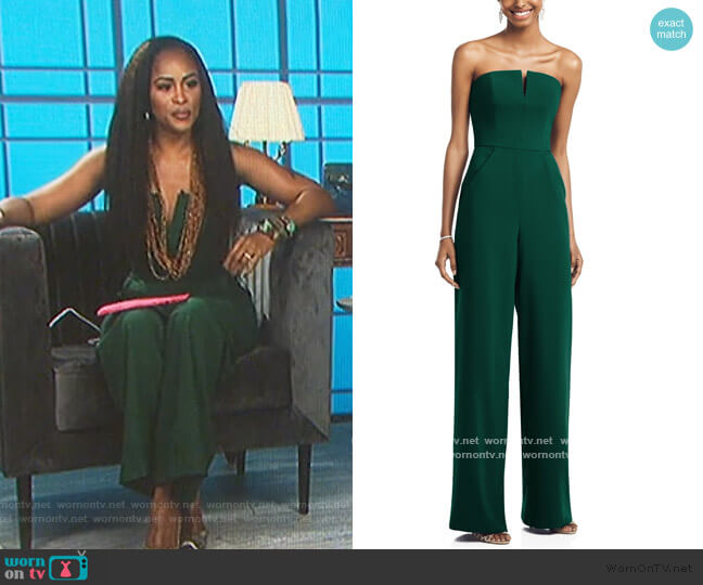 Strapless Crepe Jumpsuit by Dessy Collection worn by Eve  on The Talk