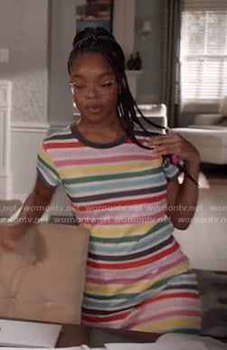 Diane's multicolor striped t-shirt dress on Black-ish