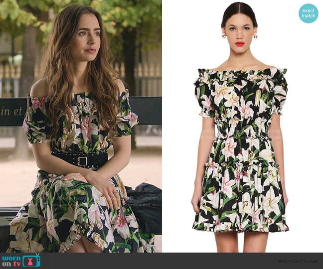 Printed Off-Shoulder Cotton Poplin Dress by Dolce & Gabbana worn by Emily Cooper (Lily Collins) on Emily in Paris