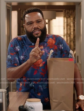 Andre's blue floral polo shirt on Black-ish