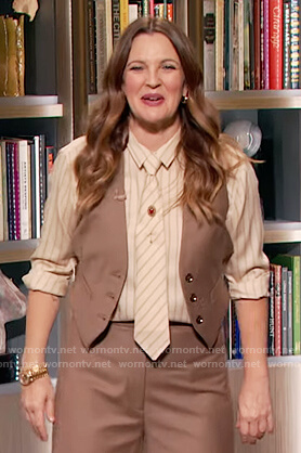 Drew's brown button front vest on The Drew Barrymore Show
