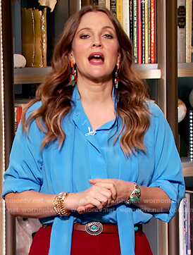 Drew's blue tie neck blouse on The Drew Barrymore Show