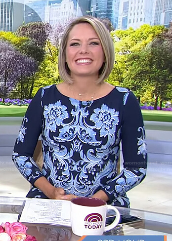 Dylan's blue floral long sleeve dress on Today
