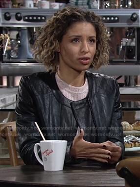 Elena's black two-tone leather jacket on The Young and the Restless