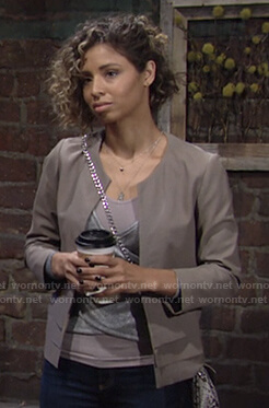 Elena's metallic crossover top and grey jacket on The Young and the Restless