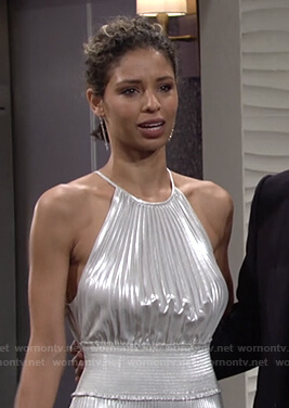 Elena's metallic pleated midi dress on The Young and the Restless