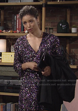 Elena's sequin v-neck mini dress on The Young and the Restless