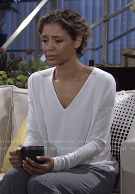 Elena's white v-neck drop-shoulder sleeve top on The Young and the Restless