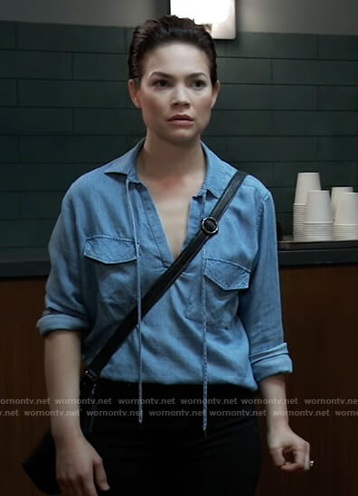 Elizabeth's chambray tie neck shirt on General Hospital