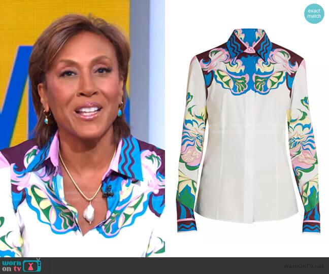 Manu-Print Stretch-Cotton Shirt by Emilio Pucci worn by Robin Roberts  on Good Morning America