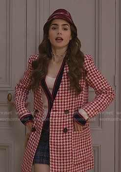 Emily's red and white houndstooth coat on Emily in Paris
