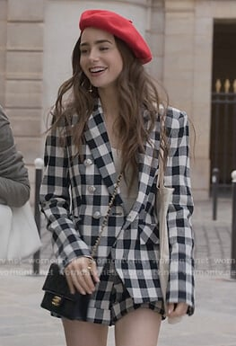 Emily's gingham check blazer and shorts on Emily in Paris