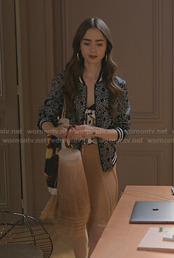 Emily's black printed bomber jacket on Emily in Paris