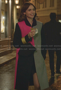 Emily's colorblock coat on Emily in Paris