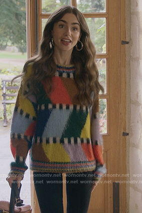 Emily's multicolored sweater and cropped jacket on Emily in Paris