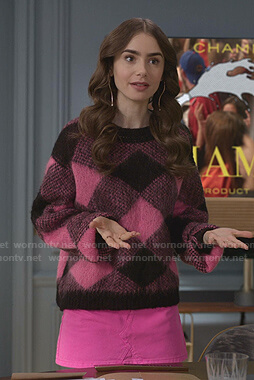 Emily's pink and black check sweater on Emily in Paris
