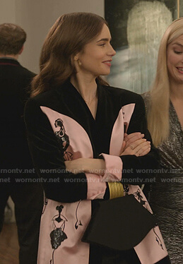 Emily's pink and black embroidered satin blazer on Emily in Paris