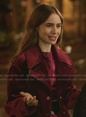 Emily's red quilted velour jacket on Emily in Paris