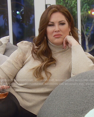 Emily's beige turtleneck sweater on The Real Housewives of Orange County