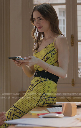 Emily's yellow mixed print top and skirt on Emily in Paris