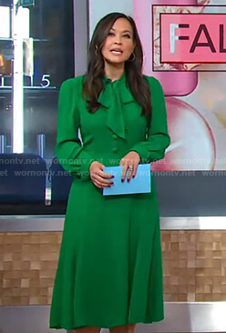 Eva's green tie neck midi dress on Good Morning America