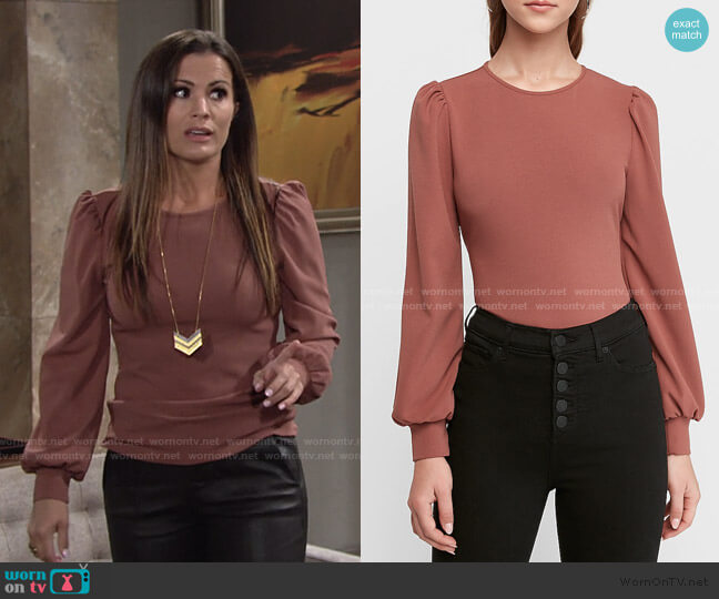Crew Neck Puff Sleeve Top by Express worn by Chelsea Lawson (Melissa Claire Egan) on The Young & the Restless