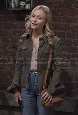 Faith's pink floral top and green peplum jacket on The Young and the Restless