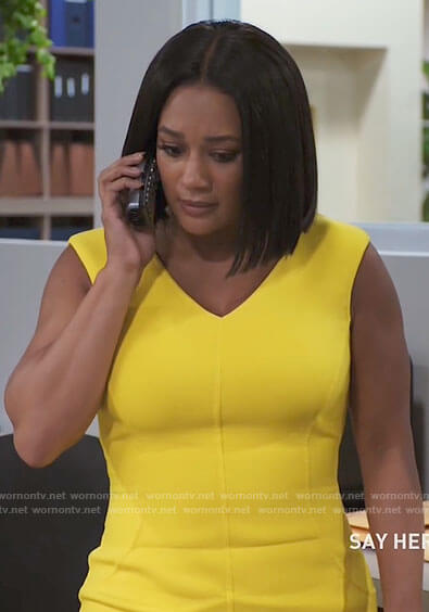 Fatima's yellow sheath dress on Tyler Perrys Sistas