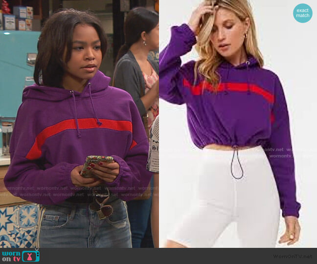Striped Trim Cropped Hoodie by Forever 21 worn by Nia Baxter (Navia Robinson) on Ravens Home