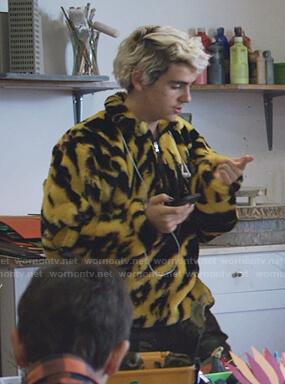Fraser's yellow animal print half-zip sweatshirt on We Are Who We Are