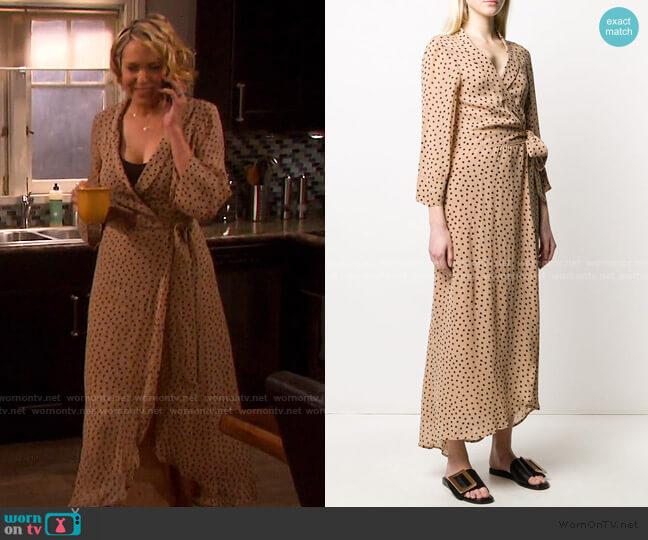 Georgette Crepe Polka Dot Dress by Ganni worn by Nicole Walker (Arianne Zucker) on Days of our Lives
