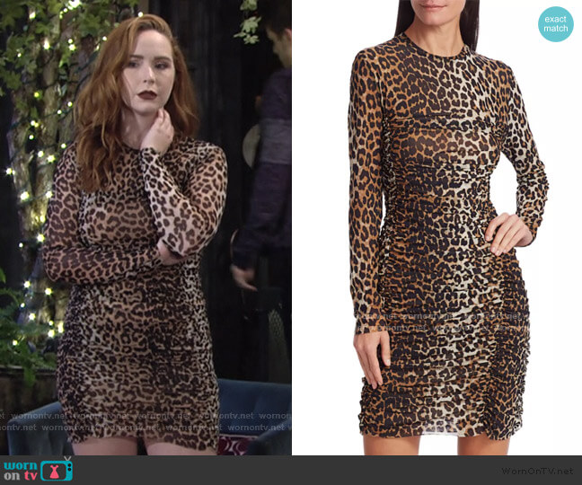 Leopard Print Mesh Dress by Ganni worn by Mariah Copeland (Camryn Grimes) on The Young & the Restless